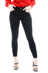 Black Distressed Shredded hem Denim Stretch Jeans - Aria - storm desire