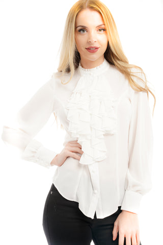 White Ruffle Front Frill Blouse Top - Samantha