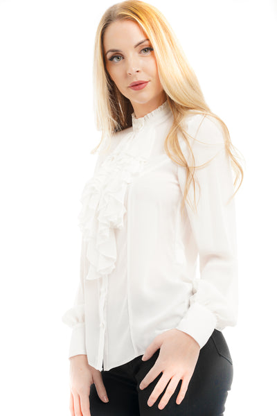 White Ruffle Front Frill Blouse Top - Samantha - Storm Desire