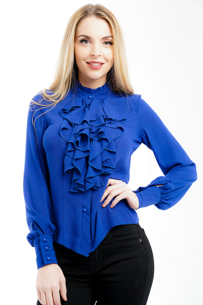 Royal Blue Ruffle Front Frill Blouse Top - Samantha - Storm Desire