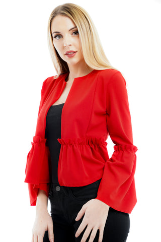 Red Frill Cardigan jacket -  Caroline