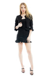 Black Frill Suede Fabric Co-ord Suit skirt jacket Set - Gianna - storm desire