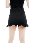 Black Frill Suede Fabric Co-ord Suit skirt jacket Set - Quinn - storm desire