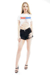 Black Denim Mid Rise Frayed Hotpants - Alexa - storm desire