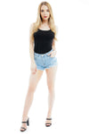 Light Denim Blue Mid Rise Frayed Hotpants - Alexa - Storm Desire