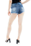 Denim Blue Mid Rise Frayed Hotpants - @kelly_knightxx - storm desire