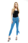 Denim Blue Ribbon Bow Tie Skinny Jeans - Bella - storm desire