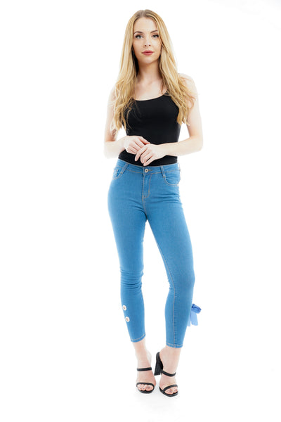 Denim Blue Ribbon Bow Tie Skinny Jeans - @gracemooneyyy - storm desire