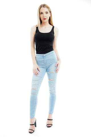 Bleach Denim Multi Slash High Waist Jeans - Ava - storm desire
