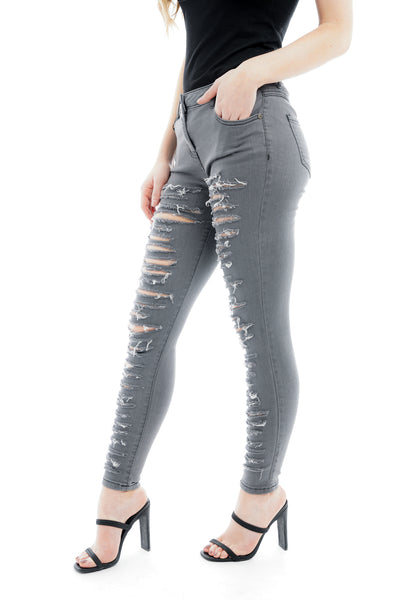Grey Extreme Denim Distressed Ripped Jeans - Gabriella - Storm Desire