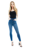 Denim Blue Frill Waist band Mid wash jeans - Nicola