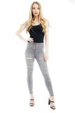 Grey Denim Multi Slash High Waist Jeans - Ava - storm desire