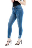 Denim Mid Blue Wash Distressed Shredded hem Stretch Jeans - @charldyson - storm desire
