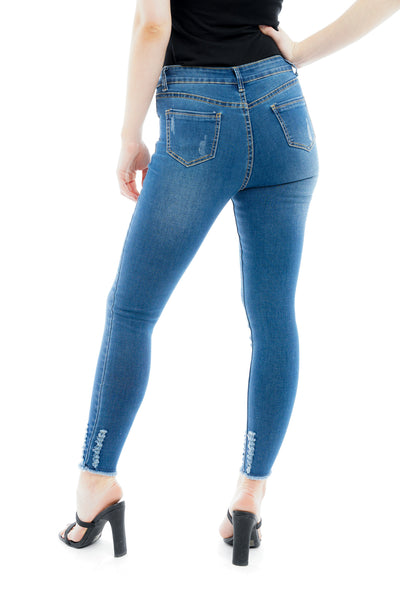 Denim Mid Blue Wash Distressed Shredded hem Stretch Jeans - storm desire