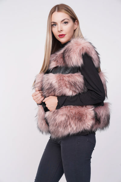 Ruby Thick Chunky Faux Fur Panel Gilet Waistcoat - Pink - Storm Desire