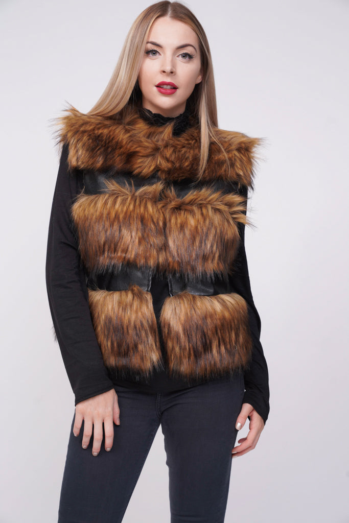 Brown Thick Chunky Faux Fur Panel Gilet Waistcoat - Josephine - storm desire