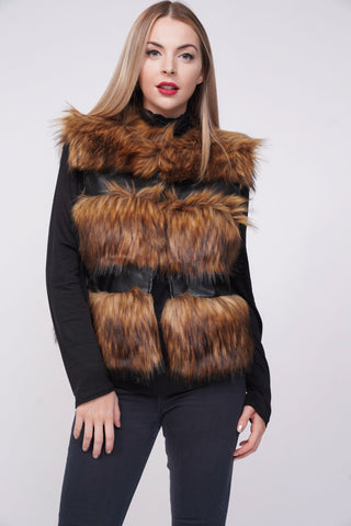 Ruby Thick Chunky Faux Fur Panel Gilet Waistcoat - Brown - storm desire