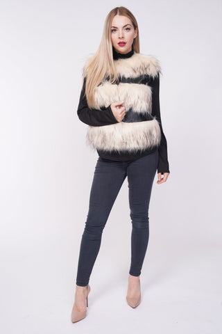 Ruby Thick Chunky Faux Fur Panel Gilet Waistcoat - Cream - storm desire