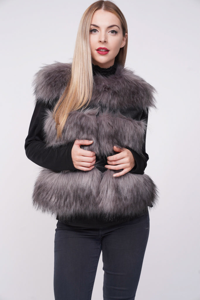 Ruby Thick Chunky Faux Fur Panel Gilet Waistcoat - Grey - Storm Desire