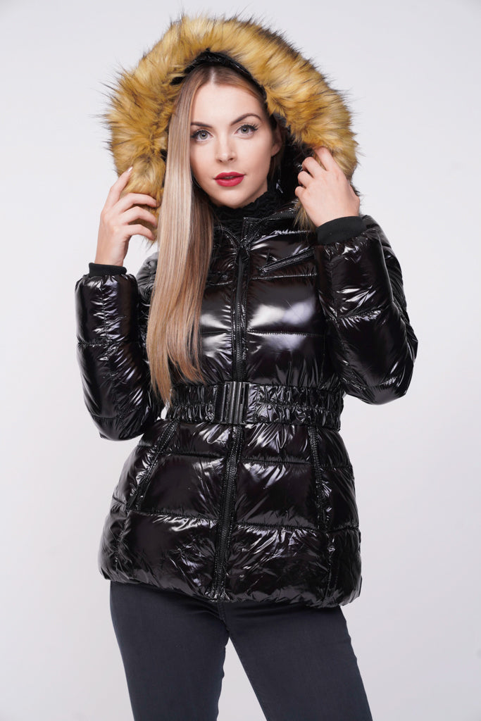 2d46b2b8d Black Shiny Wetlook Belted Faux Fur Hood Quilted Puffer Jacket ...