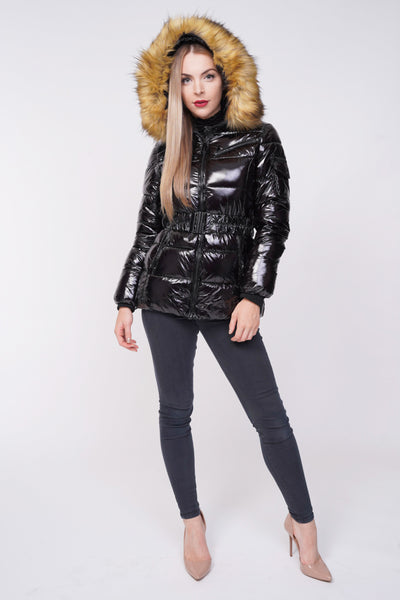 Black Shiny Wetlook Belted Faux Fur Hood Quilted Puffer Jacket - Milly - storm desire