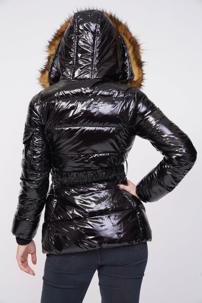 on feet at premium selection buy Black Shiny Wetlook Belted Faux Fur Hood Quilted Puffer Jacket ...