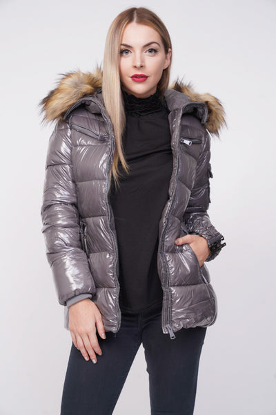 Grey Shiny Wetlook Belted Faux Fur Hood Quilted Puffer Jacket - Storm Desire