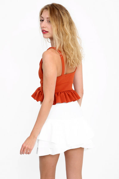 Kylie Multi Layered Frill Mini Shorts - White - Storm Desire