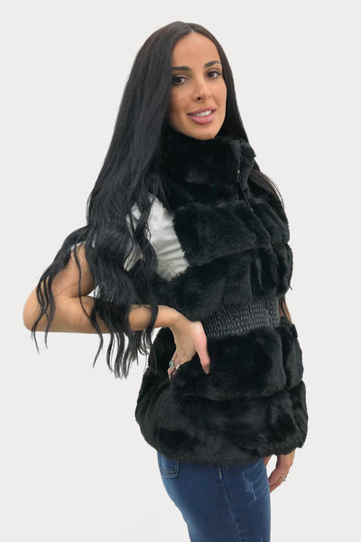 Black Faux Fur Waist Band Gilet - Vivienne