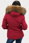 Red Lux Natural Fur Hood Padded Zip Jacket - Ember