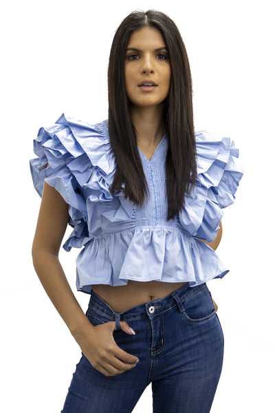 Blue Layered Frill Crop Top - Lily
