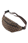 Brown Check Print Waist Bum bag - Maria