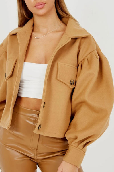 Camel Balloon Sleeve Thick Cropped Jacket - Selena