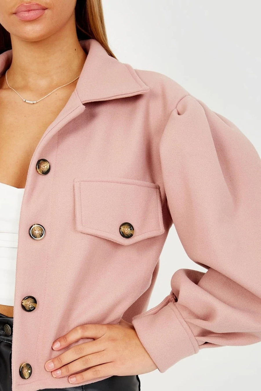 Pink Balloon Sleeve Thick Cropped Jacket - Selena