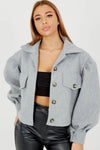 Grey Balloon Sleeve Thick Cropped Jacket - Selena