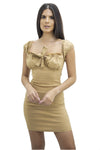 Beige Front Cup Bow Mini Dress - Brandie