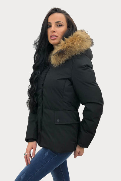 Black Lux Natural Fur Hood Padded Zip Jacket - Ember