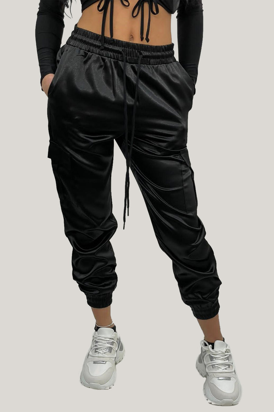 Black Satin Lux Jogger Pants - Sylvie