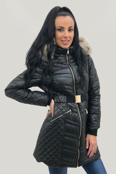 Black Shiny Faux Fur Hooded Long Puffer Jacket - Annalise