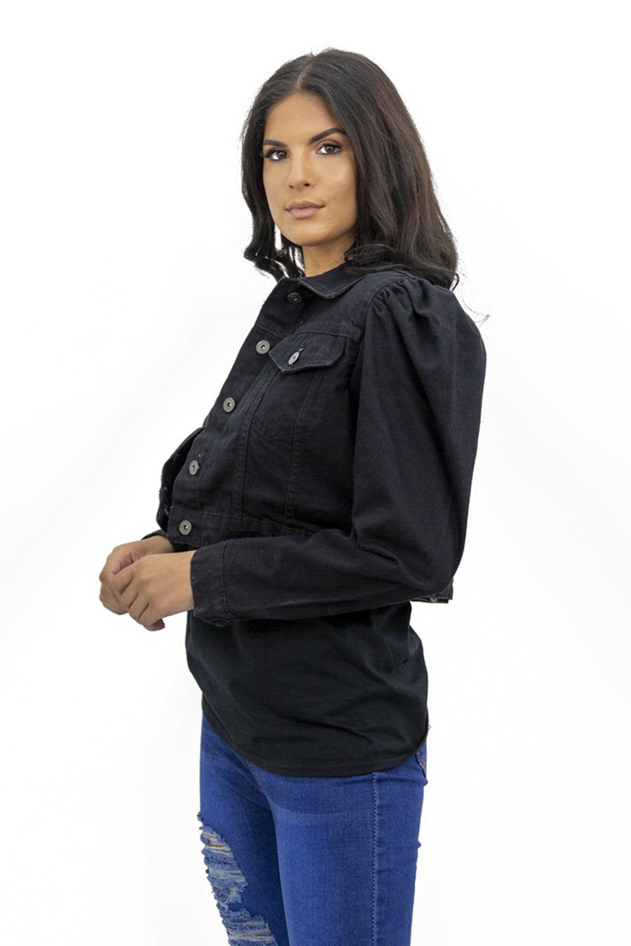 Black Denim Puff Sleeve Denim Jacket - Penelope