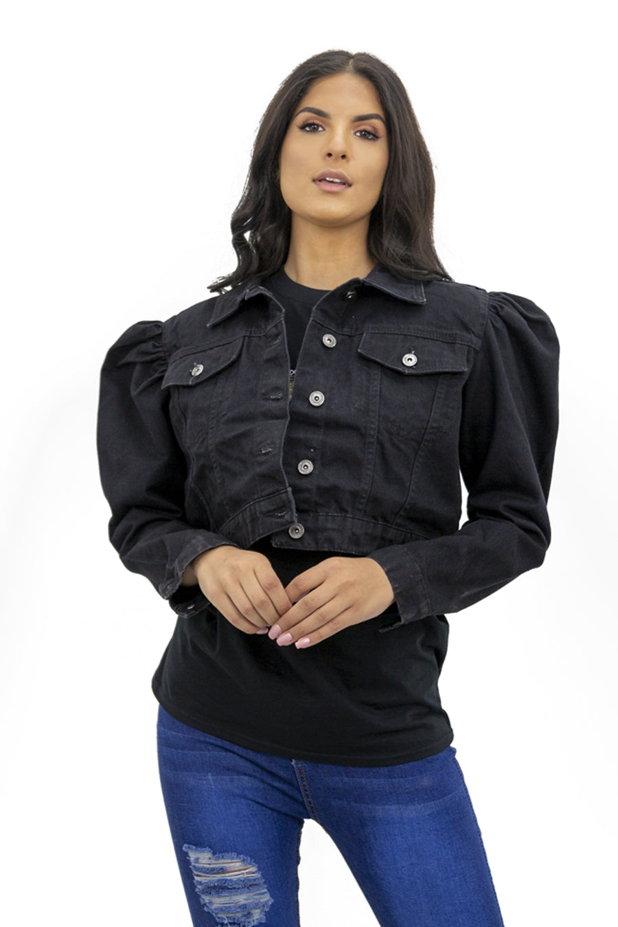 Back In Stock Black Denim Puff Sleeve Denim Jacket - Penelope