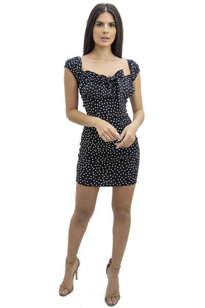 Polka Dot Front Cup Bow Mini Dress - Brandie