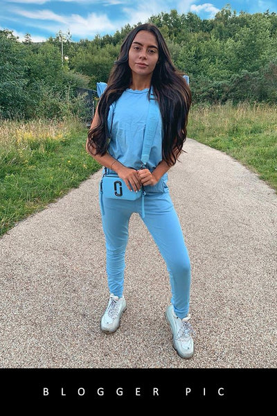 Baby Blue Frill Sleeve Fitted Joggers Set - Erika