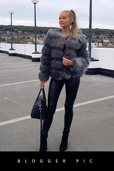 Grey Super Soft Faux Fur Jacket - Ayana