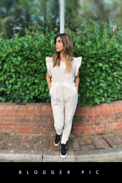 Cream Frill Sleeve Fitted Joggers Set - Erika