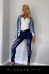 Dark Denim Extreme Distressed Ripped Jeans - Gabriella