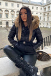 Black Natural Fur Two Tone Parka Jacket - Kailey