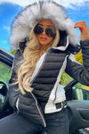 Black White Faux Fur Hood Puffer Jacket - Milo