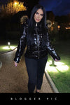 Black Shiny Wetlook Chunky Faux Fur Hood Puffer Jacket - Zara