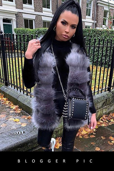 Grey Super Soft Faux Fur Long Gilet - London